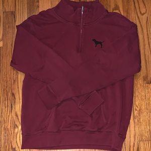 Women's PINK maroon Medium quarter zip sweater